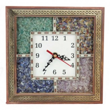 Antique Handcrafted Gemstone Wooden Wall Clock 104