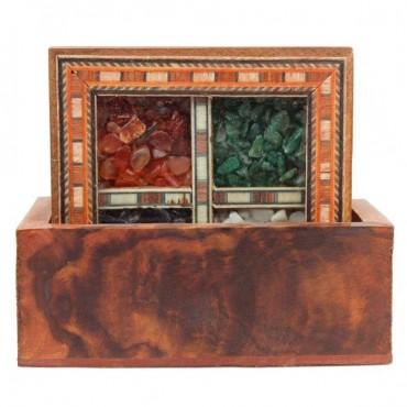 Antique Design Gemstone 4 Tea Coaster Set -105