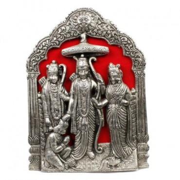 Antique Lord Ram Darbar Idol in White Metal 124