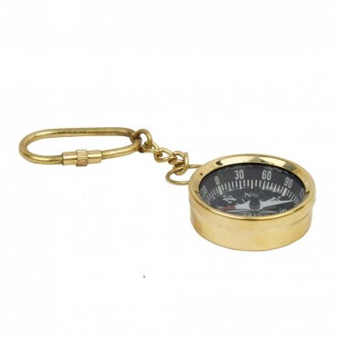 Antique Brass Handcrafted Compass in Keychain -144