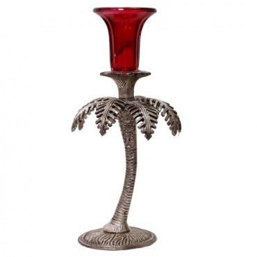 Antique Look Aluminium Tree Design Single Candle Holder 160