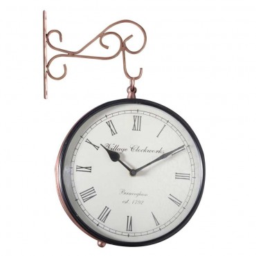 Analog 20.3 cm Dia Wall Clock(Brown, With Glass)