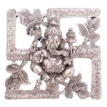 Antique White Metal Swastik Ganesha Hanging