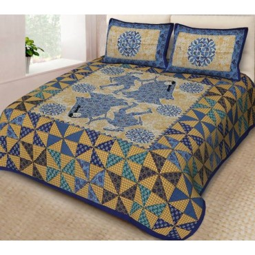 100% Cotton Jaipuri Print Double Bedsheet with 2 Pillow Covers, 90 x100 Inches, King Size
