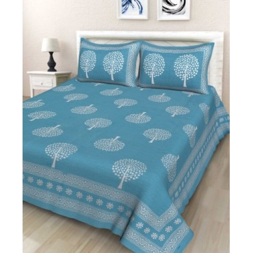 100% Cotton Double Bedsheet with 2 Pillow Covers, 90 x100 Inches