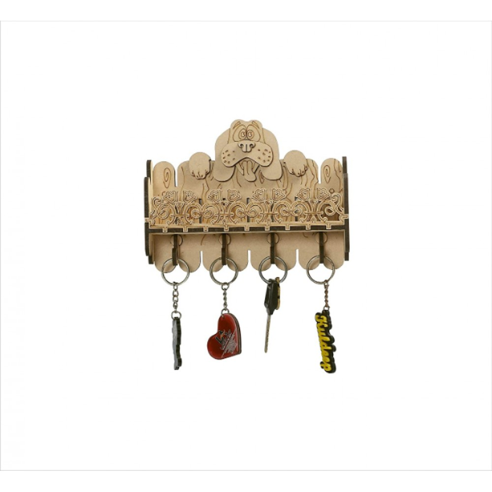 Beautiful Wooden Multipurpose Wall Shelf/Wall Mount with Key Holder and Mobile Charging Stand (4 Hooks)