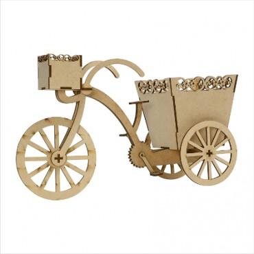 Handicrafts Antique Wooden Cycle Home Decor Product | Flower Cycle Rickshaw Showpiece | Home & Office Decor Decorative Showpiece