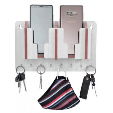 HV Enterprise MDF Wooden 2 Side Mobile Stand with 8 Keys Hooks Hanger Unique Design Stand for Home Or Office (White)