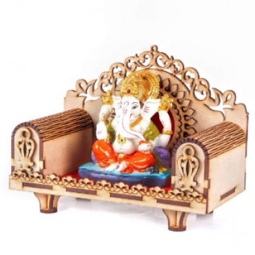 Craft Wooden Temple Beautiful Plywood Mandir Pooja Room Home Decor Office OR Home Temple | HV Enterprise