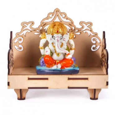 HV Enterprise Art and Craft Wooden Temple Beautiful Plywood Mandir Pooja Room Home Decor Office (Brown, Small)