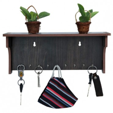 HV Enterprise Unique Design 9 Hook Wall Mounted Wooden Key Hanger Wall Stand Suitable for Home Kitchen Bedroom Living Room and Office Wall Stylish Look