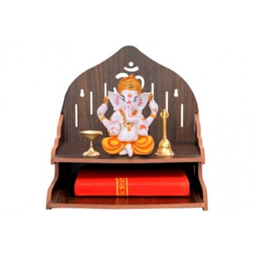 Wooden Beautiful Plywood Mandir Pooja Room Home Decor Office OR Home Temple Wall Hanging Product (Height-29, Length-29, Width-26.5 cm)