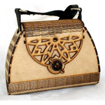 HV ENTERPRISE Women's Wooden Material Purse with Adjustable Leather Belt (Brown)