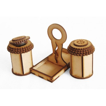 Wooden Salt Pepper Set for Dining Table & Salt and Pepper Shakers Set with Tray (40 ML) - Salt and Pepper Mixer Table Top Dinning Table Accessories