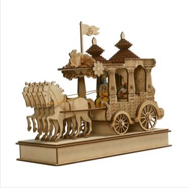 Krishna Arjuna Rath Chariot with 4 Horses Brass Showpiece   Home Decor   Krishna Arjun Updesh   Gita Saransh