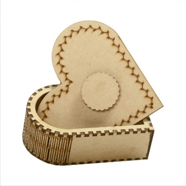 HV Enterprise Wooden Heart Shape Designer Handcarved Decoration Gift Box for Storage and Jewellery Box Jewel Storage and Dry Fruit Box Organizer Great Gift Ideas Heart Shape Design Box