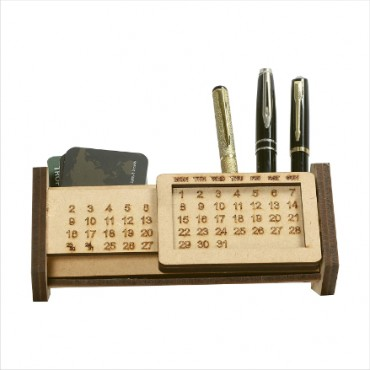 Wooden Pen Holder Stand Desk Organizer with Calander and Office Stationary