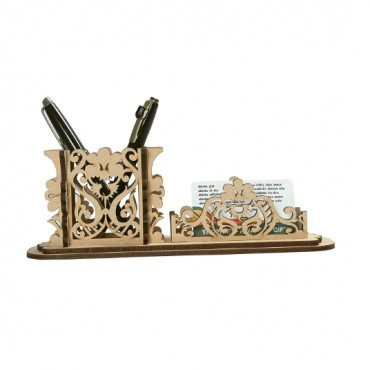 Multi-Functional Wooden Pen Holder Stand Desk Organizer with Office Stationary