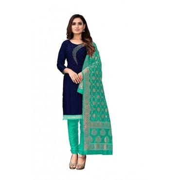 H V Enterprise Women's Ethnic Woven Real Embroidered Jacquard Dupatta (Light Green)