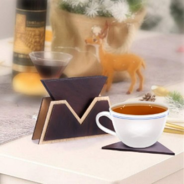 Wooden Drink Coasters Wood Table Coaster Set of 6 for Tea Cups Coffee Mugs Beer Cans Bar Tumblers and Water Glasses