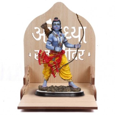 HV Enterprise Wooden Wall Mount Temple for Home Shop Office  Puja Mandir  Wall Hanging and Table Top Home Mandir Temple  Home Decor Beautiful Wooden Temple  (13.75 * 10 * 10.75 - White) (Cream)