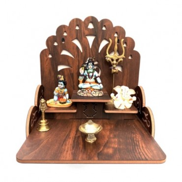 Wooden Beautiful Plywood Mandir Pooja Room Home Decor Office OR Home Temple Wall Hanging Product (Height-28, Length-28, Width-26.5 cm) (Brown)